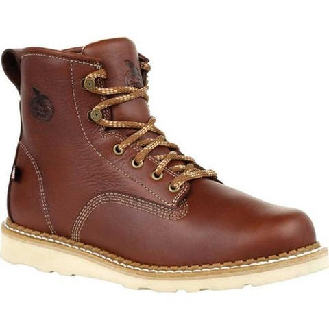 Georgia Boot Men's GB00357 USA Wedge Steel Toe Work Boot Brown Leather