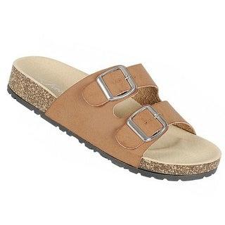 Adult Brown Double Adjustable Buckle Strap Cork Slipper Sandals