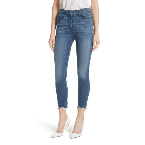 3 X 1 Remo Crop Skinny Jeans Fringed Edges