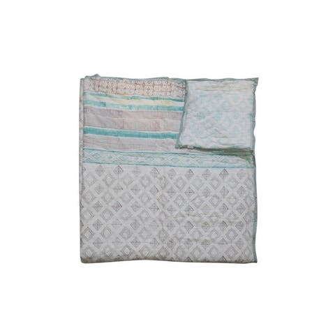 Timbergirl cotton handprinted teal quilt with 2 shams