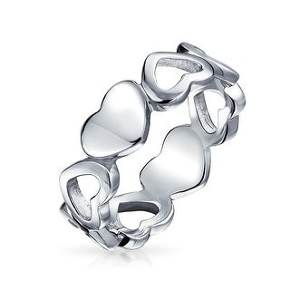 Bling Jewelry Sterling Silver Open Solid Heart Band Ring