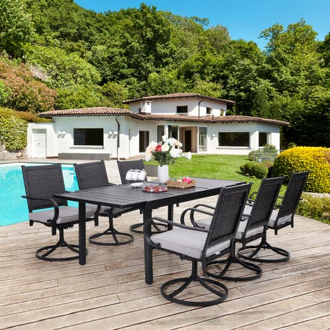 Sophia & William Outdoor Patio 7 / 9 Pieces Dining Set, 6/8 Rattan Swivel Chairs with Cushion and 1 Expandable Metal Table