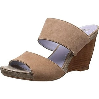 Johnston & Murphy Womens Nisha Suede Metallic Wedge Sandals - 7.5 medium (b,m)