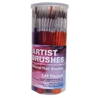 Royal Brush Round Camel Hair Polymer Handle Classroom Value Brush Set, Assorted Size, Set of 144