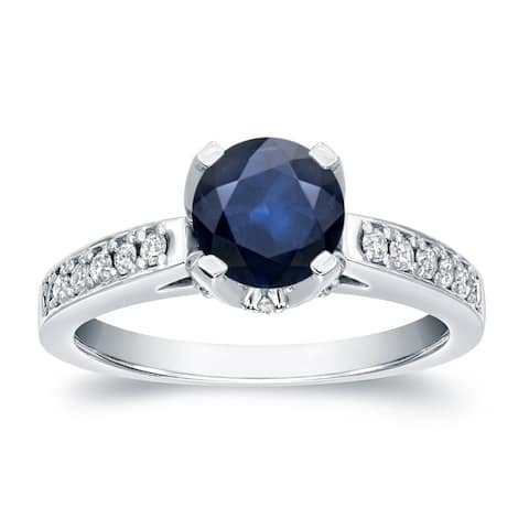 14K Gold 1ct Blue Sapphire and 1/3ctw Diamond Engagement Ring by Auriya