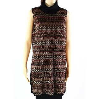 INC NEW Black Brown Metallic Women's XL Tunic Turtleneck Sweater