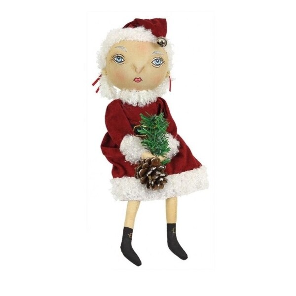 "13"" Gathered Traditions ""Folley"" Holiday Girl Decorative Christmas Figure with Dangling Legs - RED"