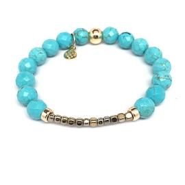 Turquoise magnesite 'Harper' stretch bracelet 14k over Sterling Silver