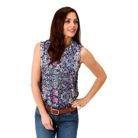 Roper Western Shirt Womens Sleeveless Blue