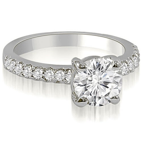 0.93 cttw. 14K White Gold Round Cut Diamond Engagement Ring