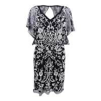 Aidan Mattox Women's Flutter-Sleeve Beaded Cocktail Dress - Black/Ivory - 8