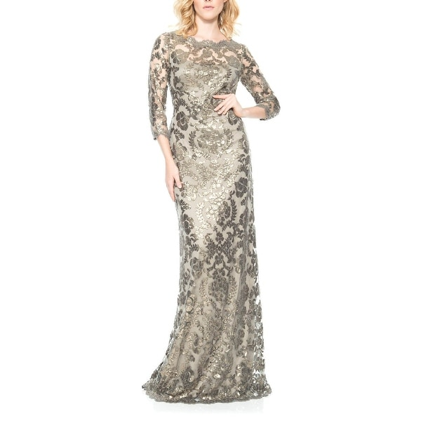 523d769dc04 Shop Tadashi Shoji Osprey 3 4 Sleeve Embroidered Evening Gown Dress  Smoke Pearl - 10 - Free Shipping Today - Overstock - 26281355
