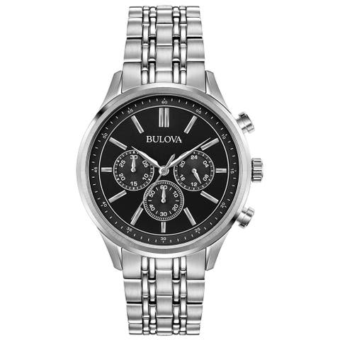 Bulova Men's 96A211Stainless Chrono Black Dial Bracelet Watch - Silver-Tone