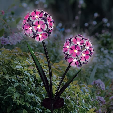 Exhart Solar Double Hydrangea Metal Garden Stake with Thirty Four LED lights, 7 by 29 Inches