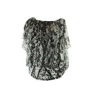 Style & Co. Black Butterfly-Sleeve Chic Python Blouse S