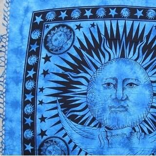 Handmade Cotton Heavy Celestial Mandala Sun Moon Star Tapestry Spread 84x96 Blue Gold Green