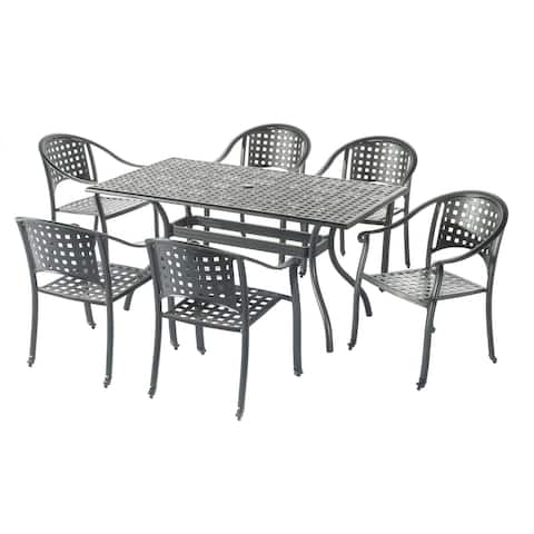 """Milano 7 Piece Aluminum Dining Set with 36""""x63"""" Rect Table and 6 stackable dining chairs"""