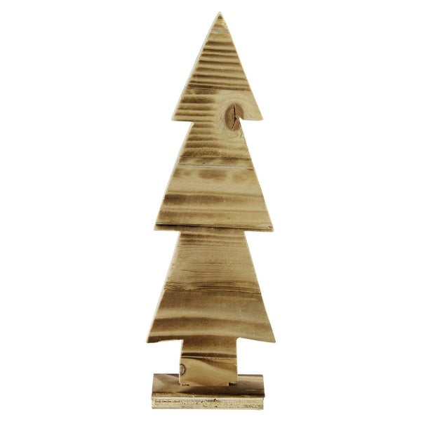 """11.75"""" Rustic Wood Cut-Out Christmas Tree Table Top Decoration - brown"""