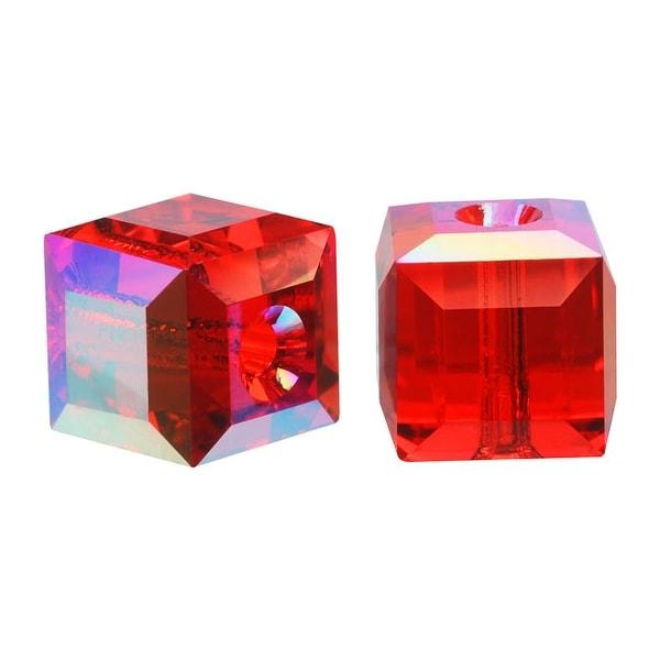 Swarovski Crystal, 5601 Cube Beads 6mm, 4 Pieces, Light Siam Red AB