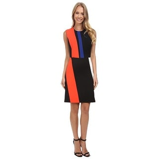 Vince Camuto Sleeveless Crepe Colorblock Cocktail Day Dress - m