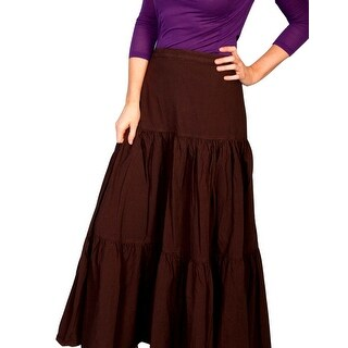 Scully Western Skirt Womens Solid Cotton Elastic Long