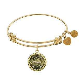 """Angelica Collection Antique Stipple Finish Brass """"aunt"""" Expandable Bangle"""