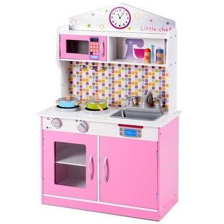 Gymax Kids Wooden Pretend Cooking Playset Cookware Play Set Kitchen Toys Toddler Gift - as pic