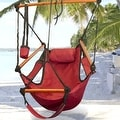 Sunnydaze Hanging Hammock Chair W/ Pillow & Drink Holder - Thumbnail 23