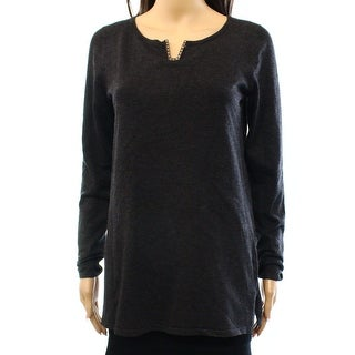 Cable & Gauge NEW Dark Gray Women's Size Large L V-Neck Hardware Sweater