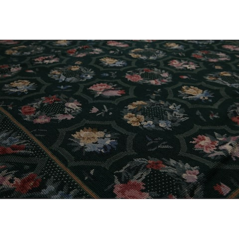 """Hand-Woven Green,Pale Pink French Needlepoint Aubusson Wool Traditional Oriental Area Rug (4x6) - 4'1"""" x 6'2"""""""