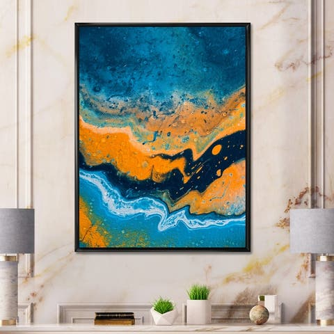Designart 'Abstract Marble Composition In Blue and Orange IV' Modern Framed Canvas Wall Art Print