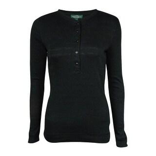 LRL Lauren Jeans Co. Women's Metallic Striped Knit Henley - xs