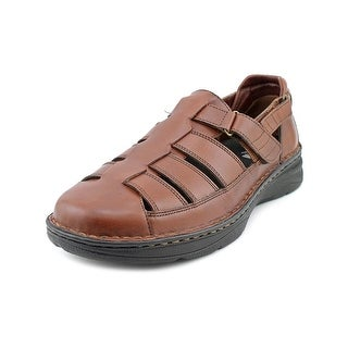 Drew Springfield Men W Round Toe Leather Brown Fisherman Sandal
