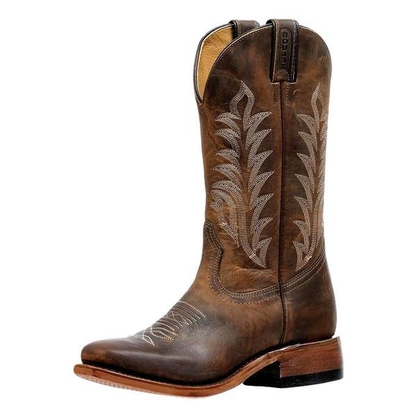 Boulet Western Boots Womens Single Stitch Vintage Damasko Taupe