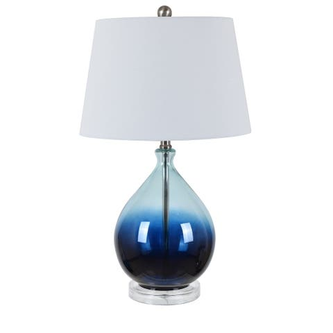"""Tasia 17"""" Blue Ombre Glass Table Lamp - 25.5""""H x 15""""Rnd"""