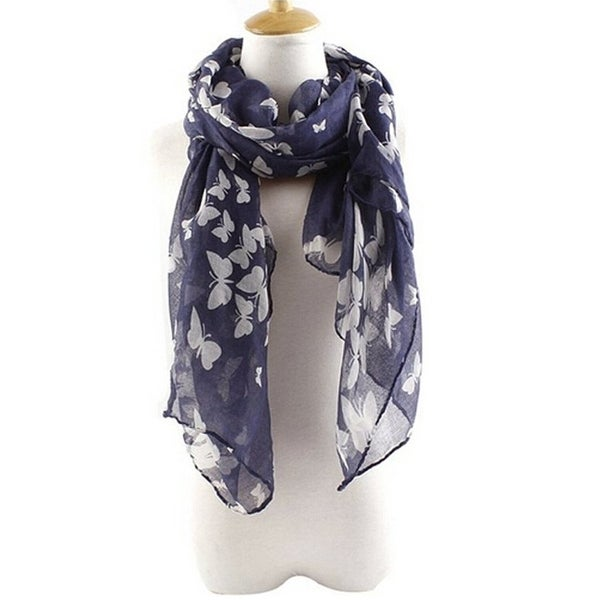 Spring and Summer Women's Elegant Butterfly Print Scarf Beach Wrap Scarves - Large