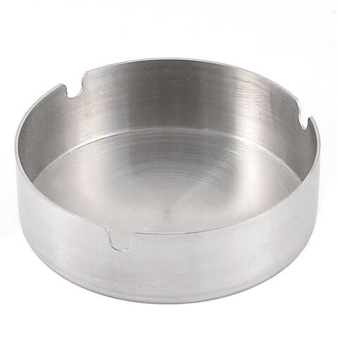 Office Metal Cylinder Shape Holder Case Ashtray Silver Tone 10cm Dia