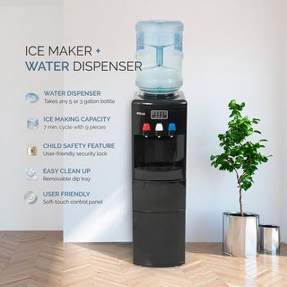 DELLA Freestanding Water Dispenser Hot and Cold with Ice Maker 2-in-1 Machine Top Loading w/ Child Safety Lock, Black