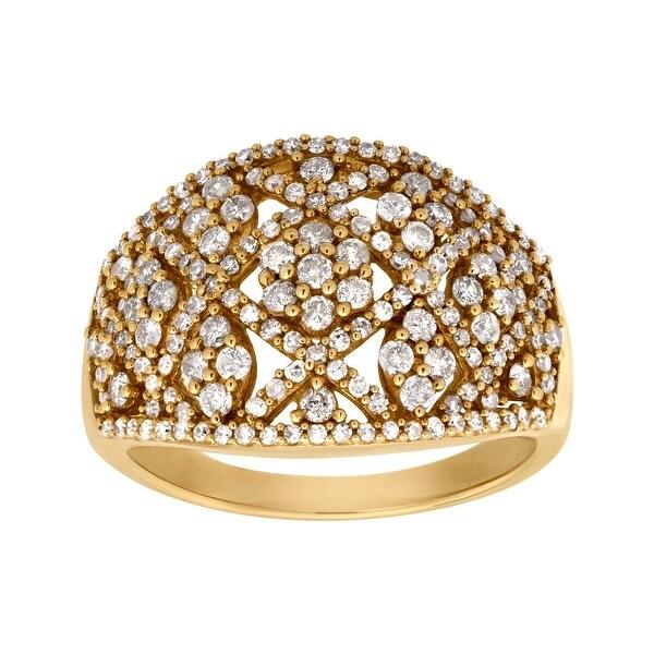 1 ct Diamond Flower Ring in 14K Yellow Gold