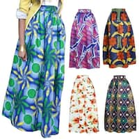 Women Casual African Geometric Floral Print A-Line High Waisted Maxi Long Skirt