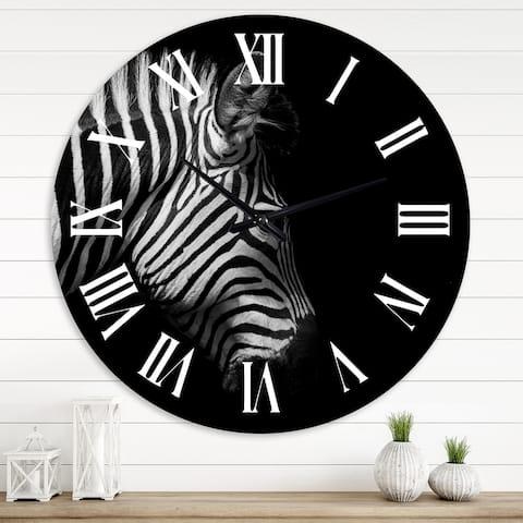 Designart 'Monochrome Portrait of Zebra Head' Farmhouse wall clock