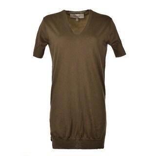 Paul Smith Womens Olive Silk Panel Logo Mesh Cashmere Tunic