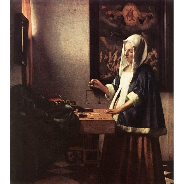 Easy Art Prints Johannes Vermeer's 'Woman Holding a Balance' Premium Canvas Art