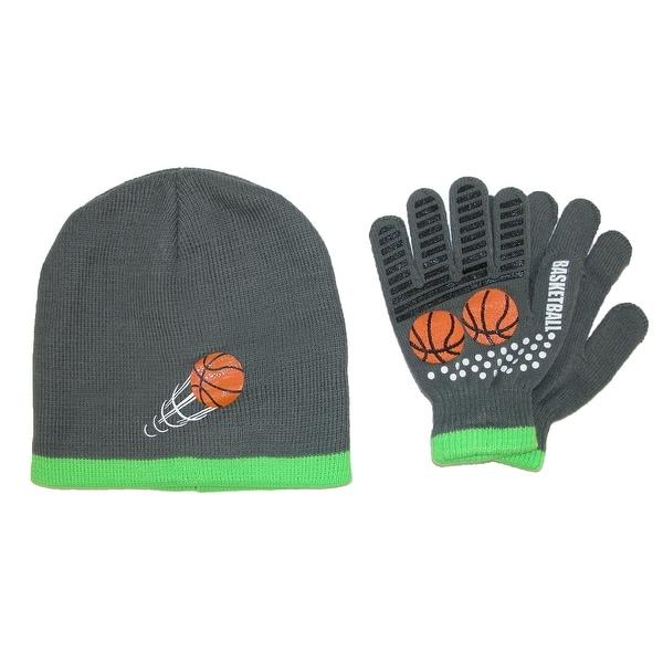 Grand Sierra Kids' 4-12 Sports Beanie Hat and Glove Winter Set