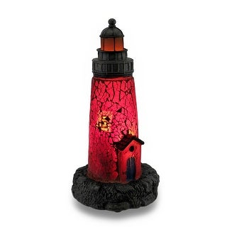 Red Crackled Glass Light House Accent Lamp Night Light Lamp