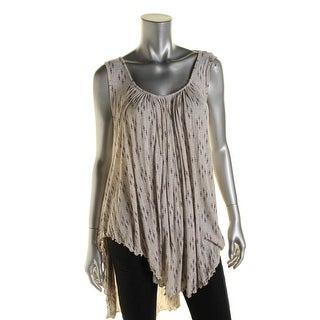 Free People Womens Casual Top Printed Criss-Cross Back