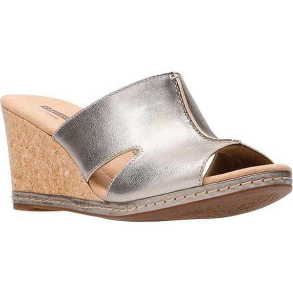 7704ff79d02 Clarks Women  x27 s Lafley Mio Wedge Pewter Metallic Full Grain Leather