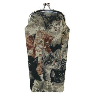 CTM® Women's Cat Print Tapestry Glasses Case - One size