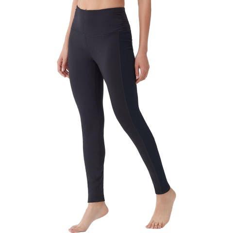 Splendid Women's Ruched High Waisted Full Length Activewear Yoga Leggings - Black - XS