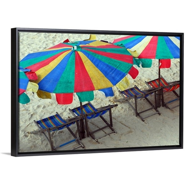 57809efc0f Shop Deck chairs and bright umbrellas on Sunny beach in Thailand ...